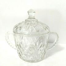 Anchor Hocking Prescut Clear Glass Pineapple Sugar Bowl w/LID Fan Design - $14.85