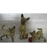 Vintage Cat & Kittens Plastic Resin Miniature Siamese Hong Kong Collecti... - $14.84