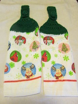 Crochet Top Kitchen Towels Snowan , Moose, Rein... - $5.99