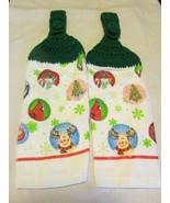 Crochet Top Kitchen Towels Snowan , Moose, Reindeer Green Top - $5.99