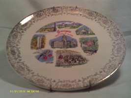 "[Q5] CERAMIC COLLECTOR PLATE 9"" GEORGIA - EMPIRE STATE OF THE SOUTH - $7.68"