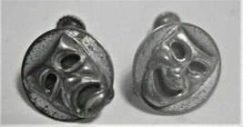 Vintage Sterling Silver Tragedy Faces Screw-back Earrings - $94.05