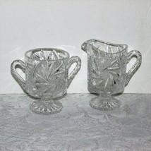 Vintage Footed Pinwheel Crystal Cream & Sugar Bowl Set Creamer Bars On Side - $19.99