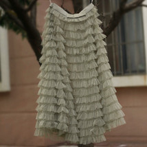 Green Ruffle Tiered Tulle Skirt Layered Long Bridal Wedding Prom Tulle Skirt image 2