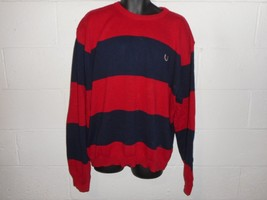 Vintage Chaps Ralph Lauren Red Blue Striped Cotton Sweater 2XL XXL - $14.99