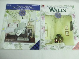 Lot of 2 Books Block Printing Walls Beginners Guide Booklets Stamping PLAID - $9.49
