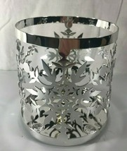 Yankee Candle Metal Frosty Jar Holder Snowflake Silver Christmas 1600442... - $11.13