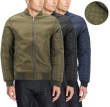 Men's Insulated Metal Zipper Full Zip Up Quilted Lining Flight Bomber Jacket