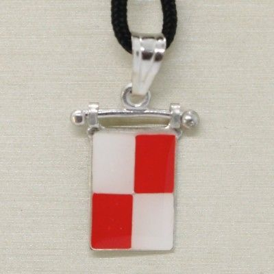 SOLID 925 STERLING SILVER PENDANT WITH NAUTICAL FLAG, LETTER U, ENAMEL, CHARM