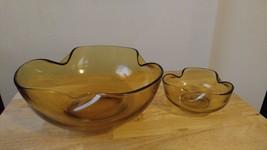 Vintage Anchor Hocking Glass Wavy bowl set (2) - $30.84