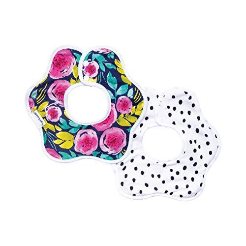 Tiny Twinkle Roundabout Bibs 2 Pack - Painted Peony Girl Set, 360 Rotating Water