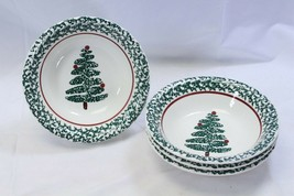 "Furio Xmas Tree Soup Bowls 8.125"" Lot of 4 Made in Italy - $45.07"