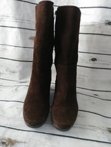 Bass Jayce Womens Size 9 Mid Calf Wedge Boots Leather Suede Brown Zip - $25.16