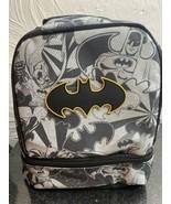 NWT Batman Insulated Lunch Bag Dual Compartments Black Gray Batman Logo - $10.39