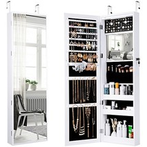 LANGRIA 10 LEDs Wall Door Mounted Jewelry Armoire Full-Length Mirror Cab... - $173.62