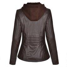 Women Biker Detachable Zipper Hoodie Slim Fit Motorcycle Genuine Leather Jacket image 2