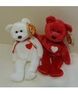"Ty Beanie Babies ""Valentino"" and ""Valentina"" Love Bears & Ear Tag Protec... - $12.98"
