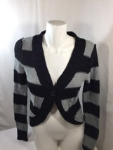Arizona Women Blouse Button Up Thick Fabric Long Sleeve Black Striped Size M - $13.55