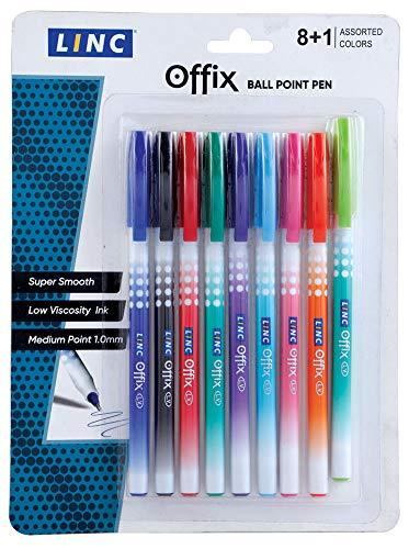 Linc Offix Smooth Ball Point Pen, 1.00mm Tip, 9-Count, Assorted Colors