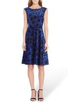 Tahari Women's Petite Flocked Velvet A-Line Dress in Black/Blue - Size 8P - $28.22