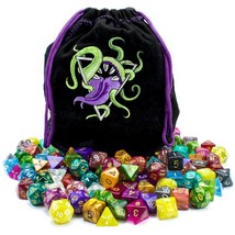 Translucent Polyhedral Dice, 140pc Bag Of Devouring Tabletop Assorted Rp... - $50.99