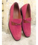 Luxury Hand Stitch Pink  Moccasin Slips On Loafer Suede Casual Wear Shoes - $158.99