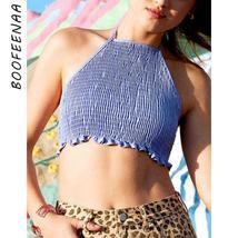 BOOFEENAA Sexy Smocked Backless Halter Top Blue Green Shirt Rave Festiva... - $39.16