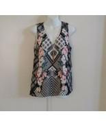 Thalia Sodi Sleeveless V-neck w/Necklace Keyhole Back Floral Black White... - $32.52
