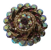 Sparkling Purple Marquise Glass Peacock AB Rhinestone Flower Runway Brooch Pin - $53.99