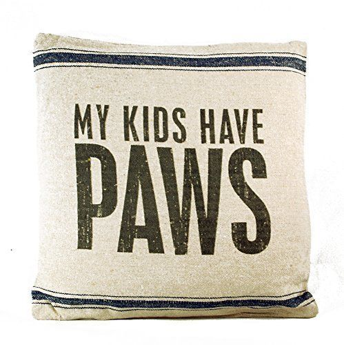 "Primary image for My Kids Have Paws Pillow Primitives by Kathy 15"" by 15"" Dog Cat"