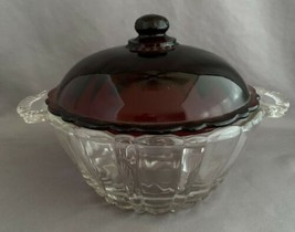 Depression Glass Ruby Red Lid Candy Dish Old Cafe Pattern by Anchor Hocking - $15.00