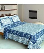 [Blue River] 100% Cotton 3PC Vermicelli-Quilted Patchwork Quilt Set (Ful... - $93.09