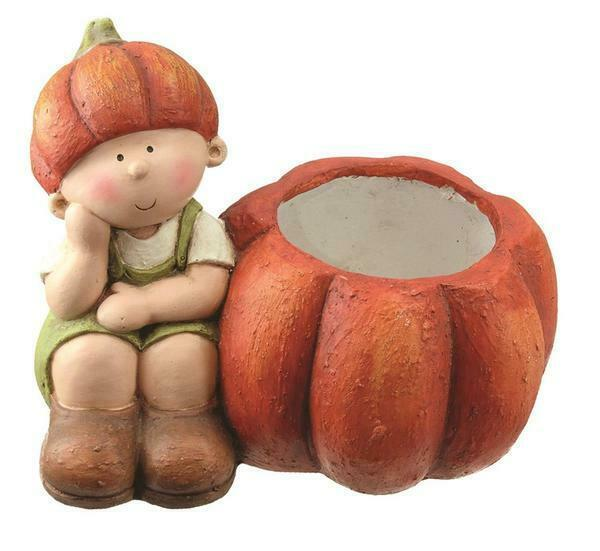 "Primary image for 13.75"" Fall Harvest Sitting Girl with Decorative Orange Pumpkin Pot Table Top De"