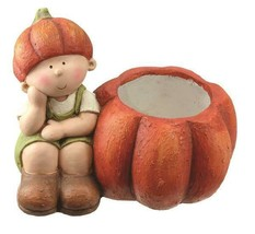 "13.75"" Fall Harvest Sitting Girl with Decorative Orange Pumpkin Pot Tabl... - $39.99"