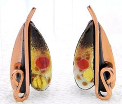 "VTG MATISSE Renoir Copper Pink Orange Yellow Enamel ""LILY"" Leaf Clip Ear... - $49.50"