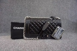 100% AUTH Chanel Le Boy Black Patent Leather Plexiglass Medium Quilted Flap Bag