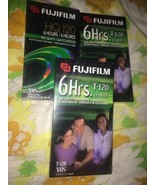 NEW Sealed LOT of 3 Fuji Fujifilm T-120 6 Hour Blank VHS Tapes High Quality - $12.78