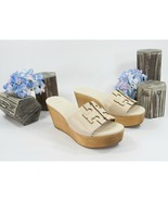 Tory Burch Ines 80MM New Cream Gold Leather Wood Wedge Slides Mules 9 NIB - $177.71