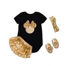belababy Newborn Gift Girls Romper Set, Black Gold Mickey for 6months - $24.32