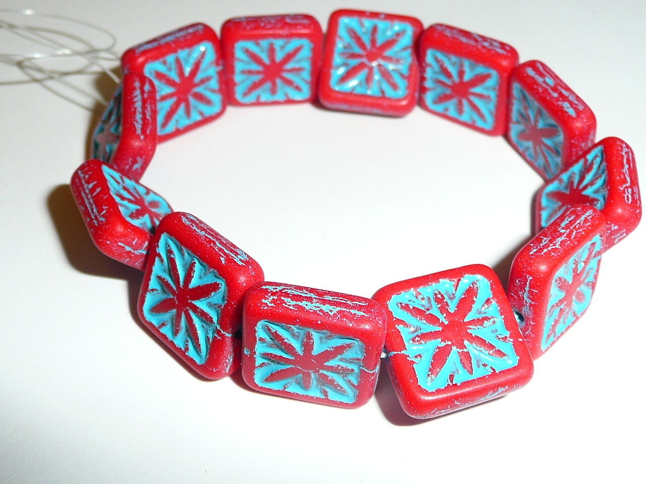 Primary image for Carved Czech Glass Matte Red Compass w/ Turquoise Wash Square Beads - 15mm