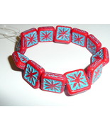 Carved Czech Glass Matte Red Compass w/ Turquoise Wash Square Beads - 15mm - $7.91