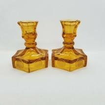 """Fostoria Amber Glass Liberty Coin 4 1/2"""" Tall Candlesticks - $11.09"""