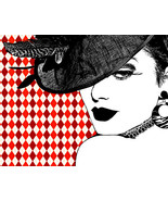 womans face derby Hat original digital art print modern contemporary pop... - $7.99