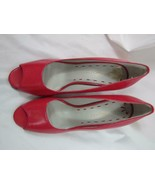 Kelly & Katie Bright Red/Pink High Heel Shoes Open Toe 085M - $18.99