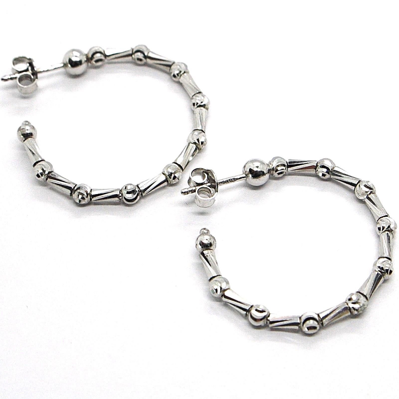 925 STERLING SILVER OFFICINA BERNARDI DIAMOND CUT HOOPS EARRINGS SPHERES TUBE