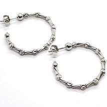925 STERLING SILVER OFFICINA BERNARDI DIAMOND CUT HOOPS EARRINGS SPHERES TUBE   image 1