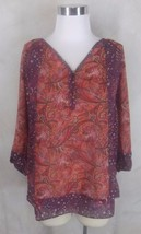 Chaps Blouse Top Small Multi Color Paisley 3/4 Sleeve - $14.24