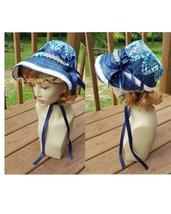 J. Regency Austen era costume hat bonnet straw crochet navy blue white r... - €58,35 EUR