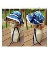 Women's J. Austen Regency era hat bonnet straw crochet navy blue white  - $62.00