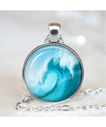 WAVE Pendant Necklace Ocean Surf Surfing Beach Nautical Glass Tidal Wave... - $12.95